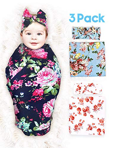 PrimeweToddlers 3 Pack Baby Swaddle Blanket Newborn Baby Wrap Organic Swaddle Receiving Blankets with Headband for Baby Boys Girls Unisex