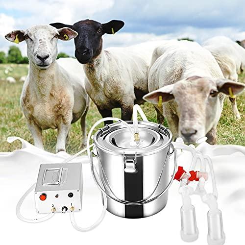 Vogvigo Mungitrice elettrica 7L, mungitrice per capre portatile macchina per mungitrice in acciaio inox con pompa a vuoto, per piccole e medie aziende agricole domestiche per pecore