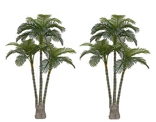 AMERIQUE Pair Gorgeous 6.3 Feet Standable Triple Trunk Artificial Palm