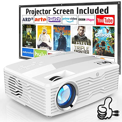Native 1080P Projector DR J Professional 6800Lumens LCD Projector Full HD Projector 300quot Display Compatible with TV Stick HDMI AV VGA PS4 Smartphone for Home Theater Presentations