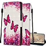 COTDINFOR Case per Samsung Galaxy Note 9 Custodia Flip,Wallet Case Cool Animal 3D Effect Painted PU Leather Magnetic Clasp Card Holder Stand Cover per Galaxy Note 9 Red Butterfly YB.