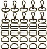 witgift 60 mosquetones giratorios en forma de D con anillas de 25 mm, para bolsos, accesorios, para...