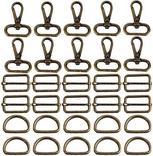 witgift 60 Stück Drehgelenk Karabinerhaken D Ringe 25mm Ring Schnalle Tasche Halbringe Gurtversteller Rucksackschnalle Spannschnallen für Taschen Zubehör Zum Nähen,Bronze
