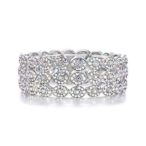 EVER FAITH Armband Kristall Hochzeit Klassisch Wide 3 Schichten Elastic Armkette Stretch Bracelet Bangle für Party Klar Silber-Ton