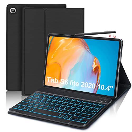 FOGARI -Tastiera Custodia per Samsung Galaxy Tab S6 Lite 2020, 7 Colori Illuminato Wireless Tastiera (Layout Italiano), Ultra Thin Protective Cover per Samsung Tab S6 Lite 10.4'' SM-P610/P615,Nero