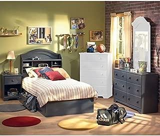 South Shore Summer Breeze Antique Blue Kids Twin Wood Captain's Bed 4 Piece Bedroom Set