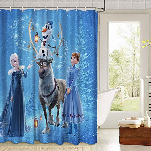 Frozen Anna Elsa Frozen Olaf Sven Fabric Shower Curtain Movie Curtain Set with 12 Hooks for Bathroom, 72in