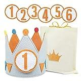 Corona Cumpleaños y Fiestas Niño de 1-6 Años. Diseñada y Fabricada en España + Números 1 al 6 + Bolsa de Algodón para Corona y Números. Confeccionada con Material Suave y consistente.
