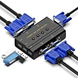 KVM Switch, 4 Porte USB VGA Commutatore con 4 Cavi KVM Per PC Monitor Tastiera Mouse Scanner Stampante Condivisione