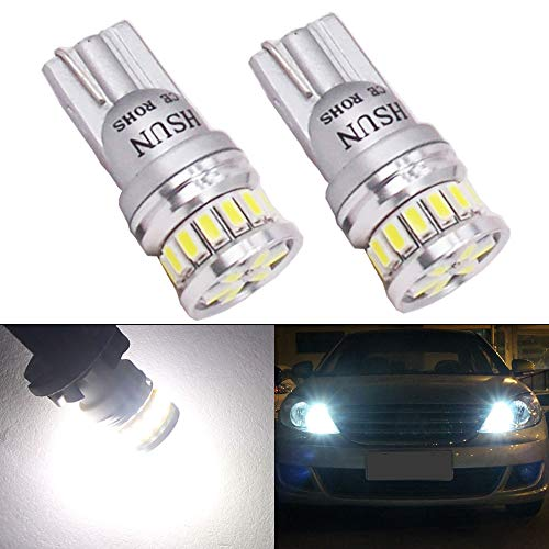 HSUN LED SMD2016 with Strong Canbus Function for Car Interior, Dome Light,Number Plate Light,Tunk Light and More,2 Pack,6000K White (T10-2-White)