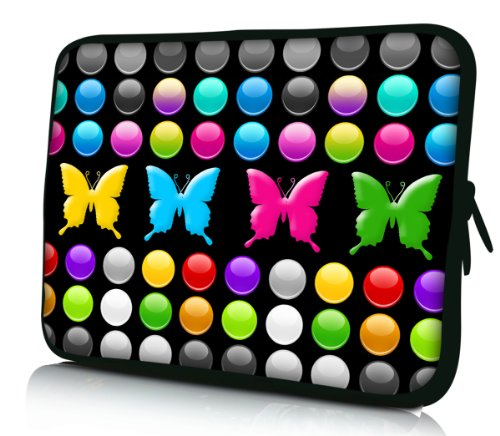 Luxburg Design Custodia Borsa Sleeve Involucro per Notebook Laptop PC portatile Macbook 14,2 pollici, motivo: Punti e farfalle