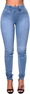 Women Slim Solid Color Long Jeans Denim Skinny Pockets Pants Daily Trousers