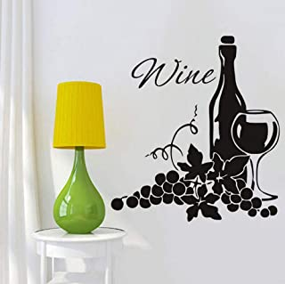 Two Clusters of Grapes and Wine Bottle DIY High Quality Vinyl Kitchen Wall Stickers Home Decor Wall Sticker for Living Roo...