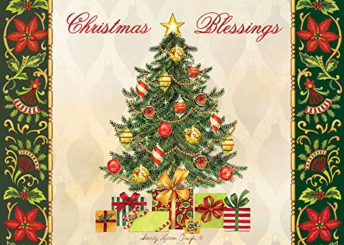 """African American Expressions - Embossed Christmas Cards Boxed Set - Inspirational Seasonal Designs - Set of 15 (5x7"""") Cards with Foil-Lined Envelopes & Gold Sticker Seals - Christmas Blessings"""