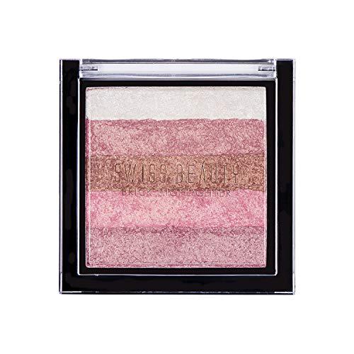 Swiss Beauty Brick Highlighter Palette, Face MakeUp, Multicolor-03, 7g