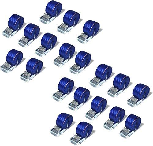 JUMBO Spanband 20 pack, 25mm, 200cm, Blauw met klemgesp, TUV gecertificeerd, conform EN-12195-2