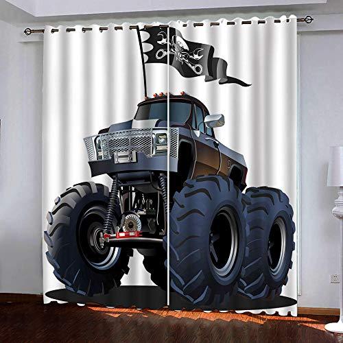 HANTAODG verduisteringsgordijnen vrachtwagen zwart verduisteringsgordijnen modern korte gordijnen thermische isolerend koude warmte reducerend lawaai bescherming tegen inkijk 140 x 160 cm 140x160cm