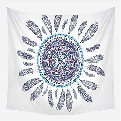 Tapiz de pared de mandala indio, gran mantel, dormitorio, sala de estar, decoración de dormitorio, tapices para colgar en la pared, diseño de mandala de plumas L/130 cm x 150 cm
