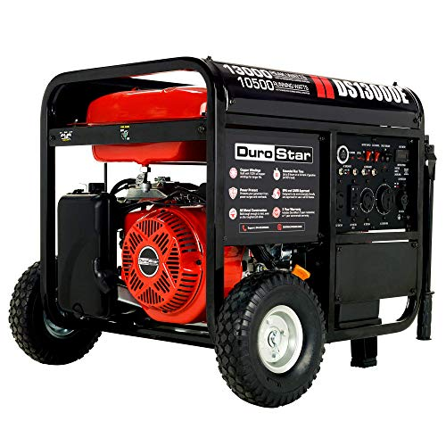 DuroStar DS13000E Gas Powered Portable Generator-13000 Watt Electric Start-Home Back Up & RV Ready, 50 State Approved, Red/Black