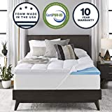 Sleep Innovations Gel Memory Foam 4-inch Dual Layer Mattress Topper Queen, Made in The USA with a 10-Year...