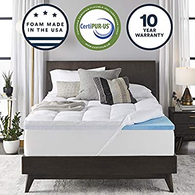 Sleep Innovations Gel Memory Foam 4-inch Dual Layer Mattress Topper King, Made in the USA with a 10-Year Warranty