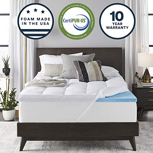 Sleep Innovations Gel Memory Foam 4-inch Dual Layer Mattress Topper Queen, Made in The USA with...