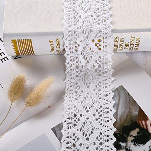showll - Cinta de encaje de algodón de estilo vintage para costura, collage y álbumes de recortes, paquetes de regalo o decoración, 1,8 m de largo y 12 cm de ancho, color blanco