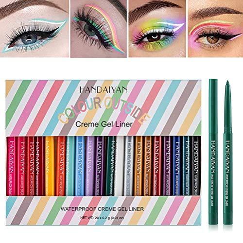 20 Farben Eyeliner Set , Eyeliner Pen, Wasserfest Kajalstift bunt Lidstrich Augen Kosmetik Makeup als auch Augenbrauenstift Lip Liner Pencil Long-Lasting