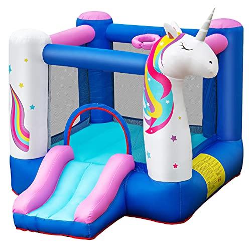 COSTWAY Castello Gonfiabile per Bambini, Casa Gonfiabile a Tema Unicorno con Scivolo, per Bambini 3-10 Anni, Include Borsa di Trasporto e Kit di Riparazione (Senza Compressore)