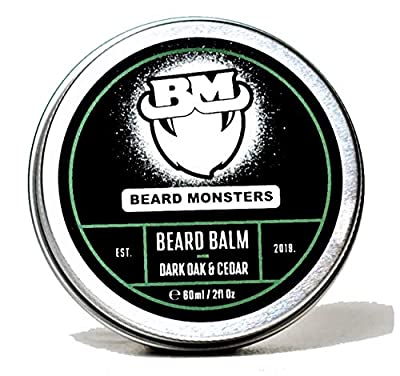 Beard Monsters Beard Balm for Men 60ml (Dark Oak and Cedar) Nourishes Moisturizes & Conditions Relieves Beard Itch and Dandruff Non Greasy Shine, Cruelty Free Natural and Organic Ingredients from Beard Monsters