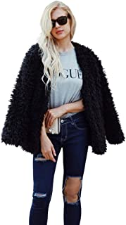 Women Fluffy Fuzzy Faux Fur Coat Open Front Cardigan Jacket Coat Outwear for Wedding Party Winter