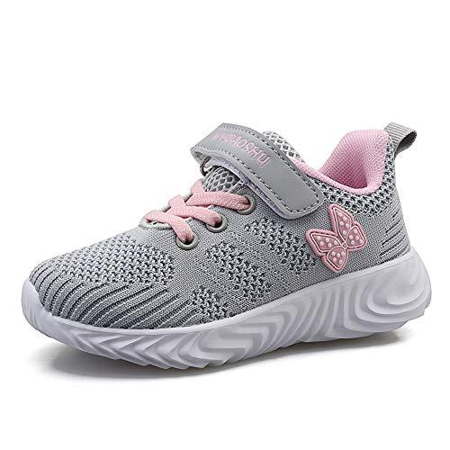 Minbei Unisex Kinder Hallenschuhe Jungen Sneakers Atmungsaktive Sportschuhe Laufschuhe Mädchen Leichte Turnschuhe Grau 26 EU