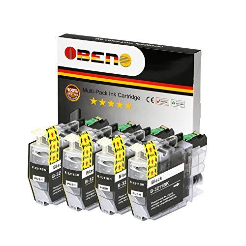 OBENO - 4 Nero - LC3211 Cartucce compatibili a 4 pezzi per Brother MFC-J890DW, MFC-J895DW, DCP-J772DW, DCP-J774DW, DCP-J572DW (4 Nero)