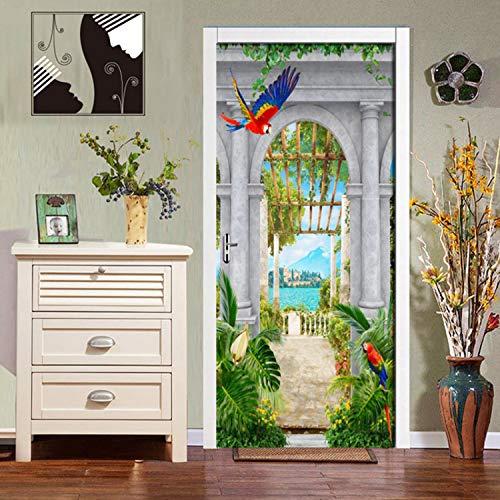 lili-nice DIY par Stickers PVC Jardin Auto-Adhésif Imperméable Arches Vue sur Le Lac 3D Papier Peint Salon Salle À Manger par Décor Stickers Muraux 2 Pcs/Ensemble 77 * 200Cm