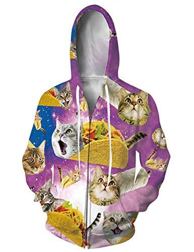 chicolife 3D Sweatjacke Lustiger Katzen Druck Warm Zip Hoodie Lange Ärmel Pullover mit Tunnelzug Design für Damen Herren, XXL
