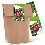 10 kleine braune Geschenktüten Papier-Tüten mit beschreibbarem Aufkleber Sticker Fußball FÜR...