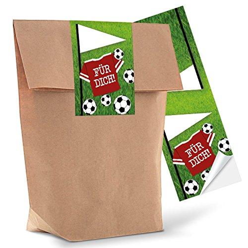 Logbuch-Verlag 10 kleine FUSSBALL Geschenktüte Kindertüte Mitgebseltüte Jungen FÜR DICH Fanartikel Fußballdeko Geburtstagstüte 14 x 22 x 5,6 cm