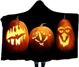 Halloween Pattern Thick Children's Blanket Hooded Shawl, Magic Hooded Warm Blanket Dressing Travel Blanket Cloak