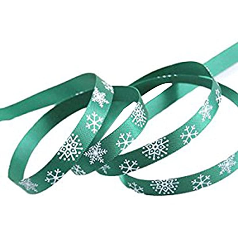 Tinksky Christmas Ribbon Snowflake Thin Ribbon for Gift Packing Wrapping 1cm Wide 20m Long (Green)