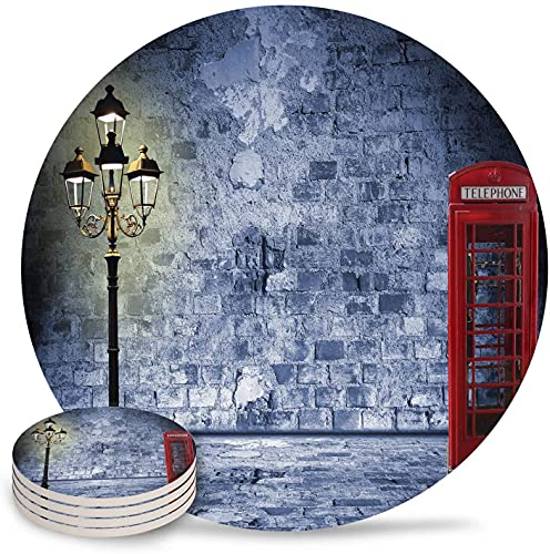 Drink Coasters London Telephone Booth Street Lamp Absorbent Stone Ceramic Coaster with Cork Back and NO Holder for Cups, Set of 6-Piece Vintage-6