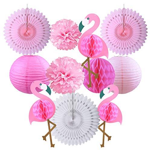 KINCREA Summer Party Decoration Kit, Hawaiano Tropicale Festa in Spiaggia Rosa Flamingo Carta Velina Pom Poms Fiori ventagli di Carta per Luau Party Matrimonio e Compleanno Baby Shower JR002