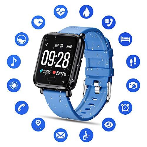 Tipmant Smartwatch Fitness Armband mit Pulsmesser Blutdruckmessung Fitness Tracker Wasserdicht IP68 Fitness Uhr Schrittzähler Pulsuhr Sportuhr für Damen Herren Kinder ios iPhone Android Handy (Blau)
