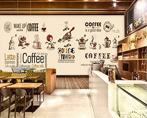 Hintergrundbild 3D Wallpaper Wohnzimmer hochwertige Tapete handbemalte europäische und amerikanische Kaffeetasse Kaffeestube Kaffeebohnen Hintergrundbild