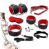 Bed Nylon Bóndage Bund Footcuffs Set Kit Juego para Parejas Juego Sxx Dispositivo Juguetes Ajustables (Negro y Rojo)