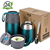 2 Pack Vacuum Insulated Food Jar Hot Food Containers for Lunch School Soup Thermos For Kids,Travel Food Flask Hot Cold (24oz,17oz) (Dark Green)