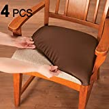 Voilamart Dining Chair Seat Covers Stretch Removable Washable Dining Chair Cover Slipcovers Soft Chair Protectors Chair Seat Cushion Slipcovers - Pack of 4, Black