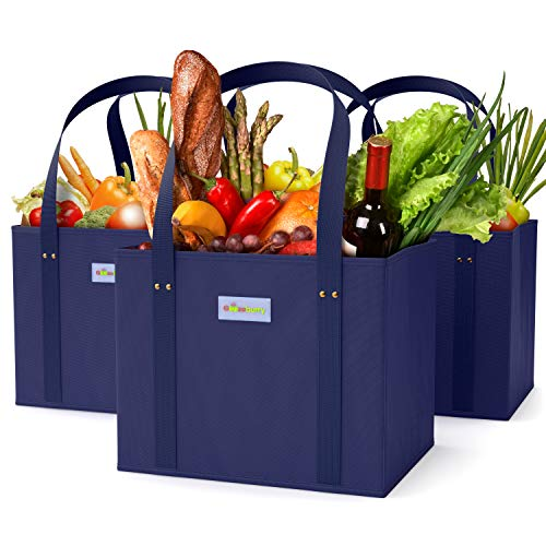 Reusable Grocery Bags Washable Design - Set of 3, Foldable Heavy-Duty Shopping Box with Handles and Large Capacity - Collapsible Totes with Reinforced Bottom - Eco-Friendly Bag Box