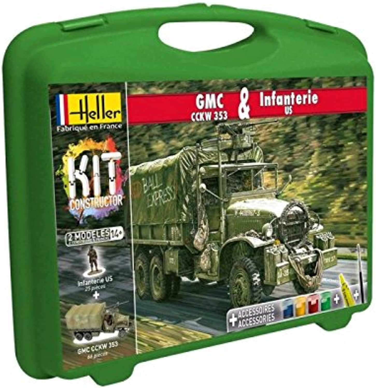 Heller  60996  Maquette De Camion  Gmc Cckw 353 Et Infanterie Us  Petite Mallette  116 Pièces