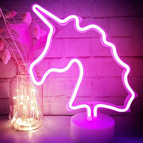 XIYUNTE Unicornio Señales luminosas neón Luz de noche,Rosado Unicornio luces de neón Lámparas Iluminación infantil Dormitorio Decoración,Bateria powered Luces de noche con pedestal Lámparas escritorio