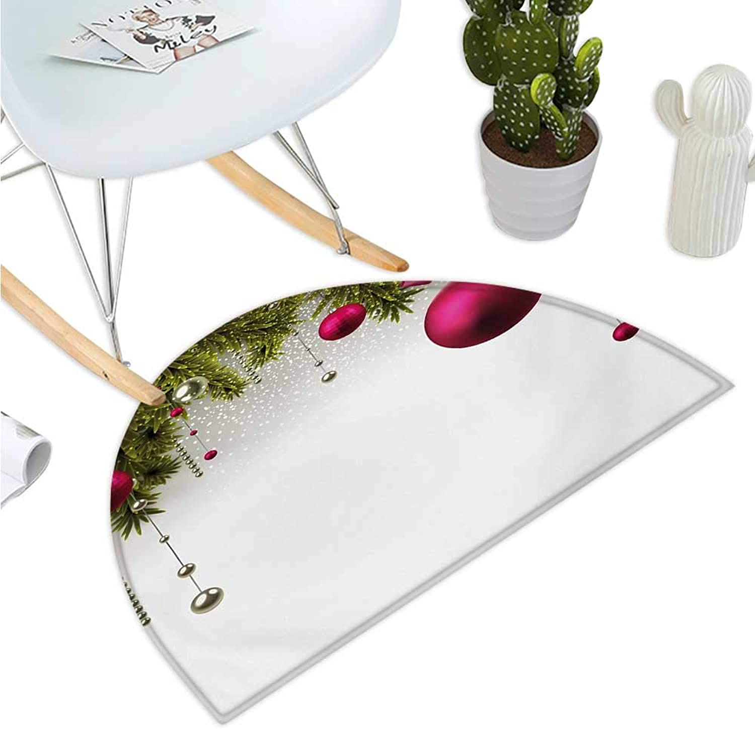 Christmas Semicircle Doormat Vivid Fir Twigs and Magenta Balls Framework Special Day Preparation Entry Door Mat H 43.3  xD 64.9  Magenta Olive Green Grey